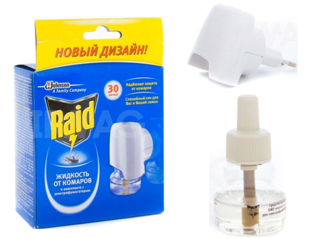 Электрофумигатор с жидкостью от комаров Raid 30 ночей
