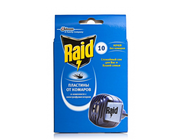 Электрофумигатор с пластинами от комаров Raid (10 пласт.)