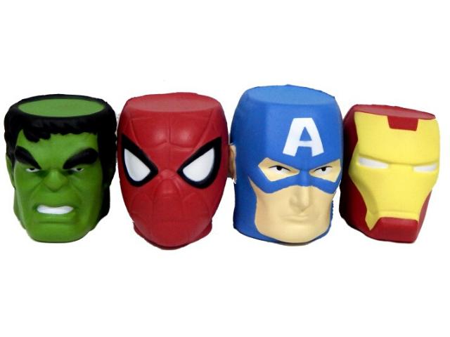 Сквиши-антистресс  Супергерои головы 8,5-9 см