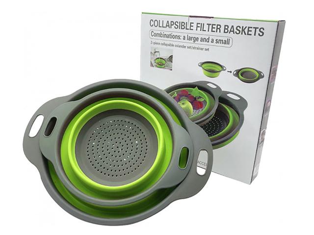 Дуршлаг силиконовый складной 2 шт Collapsible filter baskets