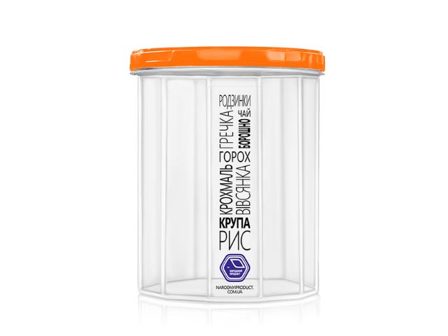 Ёмкость для сыпучих продуктов 1,5 л (оранжевая крышка)
