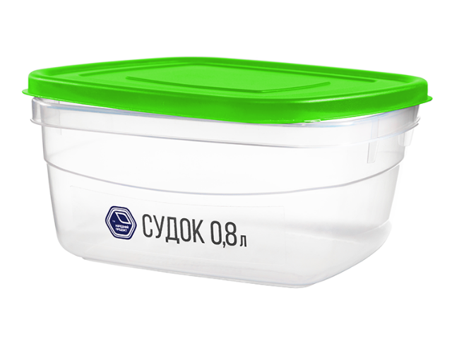 Судок 0.8 л (зеленая крышка)