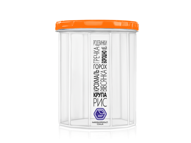 Ёмкость для сыпучих продуктов 2,0 л (оранжевая крышка)