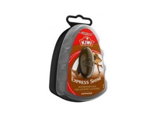 Губка для обуви Kiwi Express Shine с дозатором, коричневый, 6 мл