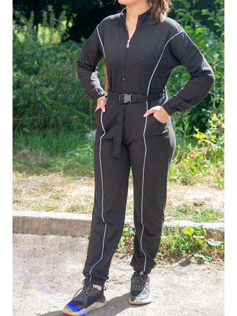 спортивный комбинезон prettylittlething черный и серый